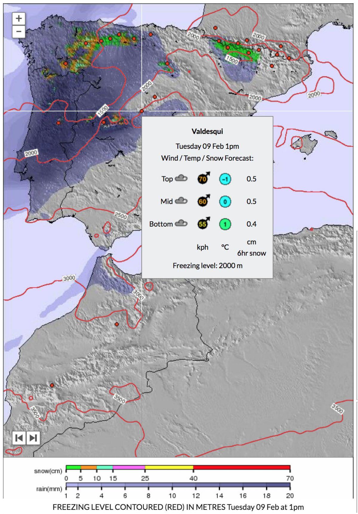 Nevadas durante 6 horas hasta el martes 09 de febrero a las 13:00 CET